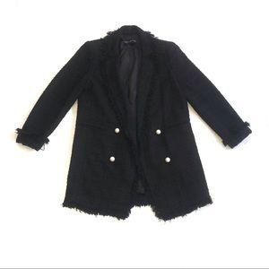 Zara Black Knit Long Blazer